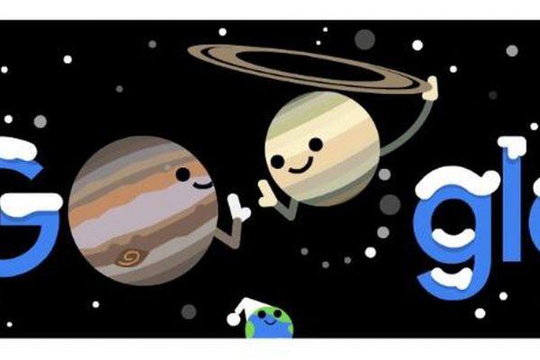 Google Doodle evidenzia la meravigliosa congiunzione di Giove e Saturno