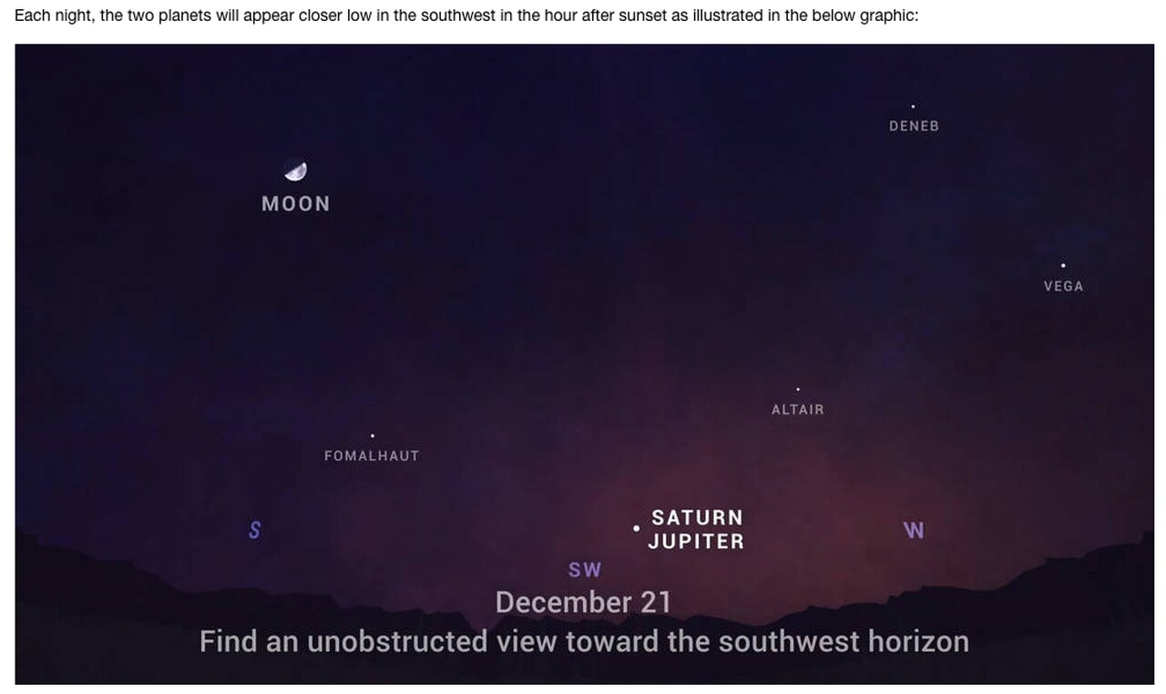 """Lunedì la """"Stella di Natale"""" è apparsa nel cielo per la prima volta in 800 anni: come vedere un meraviglioso collegamento se il tempo lo permette"""
